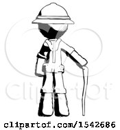 Ink Explorer Ranger Man Standing With Hiking Stick