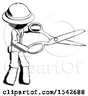 Ink Explorer Ranger Man Holding Giant Scissors Cutting Out Something