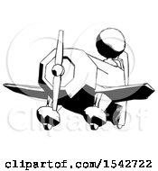 Ink Design Mascot Woman Flying In Geebee Stunt Plane Viewed From Below