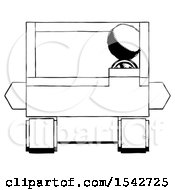 Ink Design Mascot Man Driving Amphibious Tracked Vehicle Front View