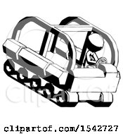 Ink Design Mascot Man Driving Amphibious Tracked Vehicle Top Angle View