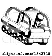 Ink Design Mascot Woman Driving Amphibious Tracked Vehicle Top Angle View