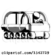 Ink Design Mascot Man Driving Amphibious Tracked Vehicle Side Angle View