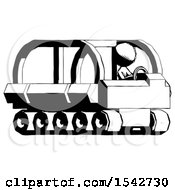 Ink Design Mascot Woman Driving Amphibious Tracked Vehicle Side Angle View