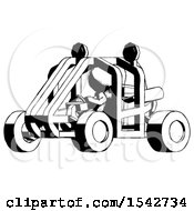 Ink Design Mascot Woman Riding Sports Buggy Side Angle View