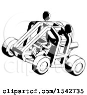 Ink Design Mascot Man Riding Sports Buggy Side Top Angle View
