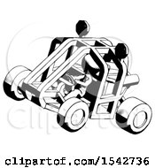 Ink Design Mascot Woman Riding Sports Buggy Side Top Angle View
