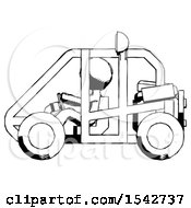 Ink Design Mascot Man Riding Sports Buggy Side View