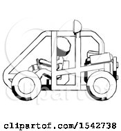 Ink Design Mascot Woman Riding Sports Buggy Side View