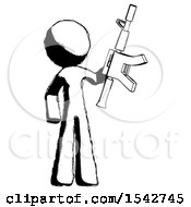 Ink Design Mascot Man Holding Automatic Gun