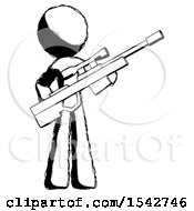 Ink Design Mascot Man Holding Sniper Rifle Gun