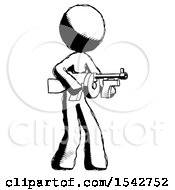 Ink Design Mascot Woman Tommy Gun Gangster Shooting Pose