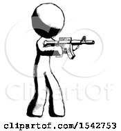 Ink Design Mascot Man Shooting Automatic Assault Weapon