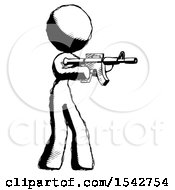 Ink Design Mascot Woman Shooting Automatic Assault Weapon