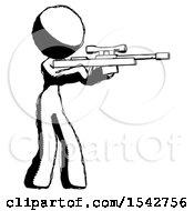 Ink Design Mascot Woman Shooting Sniper Rifle