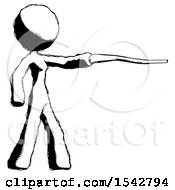 Ink Design Mascot Woman Pointing With Hiking Stick