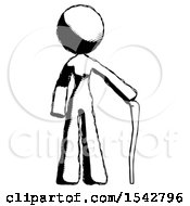 Ink Design Mascot Woman Standing With Hiking Stick