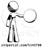 Ink Design Mascot Woman Holding A Large Compass