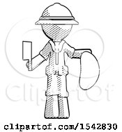 Halftone Explorer Ranger Man Holding Large Steak With Butcher Knife