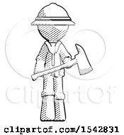 Halftone Explorer Ranger Man Holding Red Fire Fighters Ax
