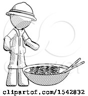 Halftone Explorer Ranger Man And Noodle Bowl Giant Soup Restaraunt Concept
