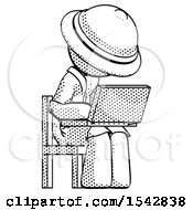 Halftone Explorer Ranger Man Using Laptop Computer While Sitting In Chair Angled Right