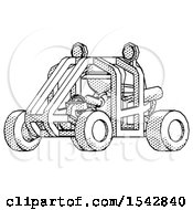 Halftone Explorer Ranger Man Riding Sports Buggy Side Angle View