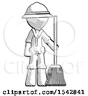 Halftone Explorer Ranger Man Standing With Broom Cleaning Services