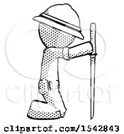 Halftone Explorer Ranger Man Kneeling With Ninja Sword Katana Showing Respect