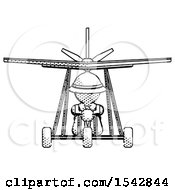 Halftone Explorer Ranger Man In Ultralight Aircraft Front View