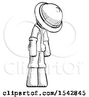 Halftone Explorer Ranger Man Depressed With Head Down Turned Right