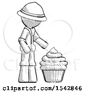 Halftone Explorer Ranger Man With Giant Cupcake Dessert