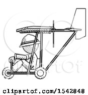 Halftone Explorer Ranger Man In Ultralight Aircraft Side View