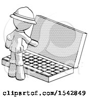 Halftone Explorer Ranger Man Using Large Laptop Computer