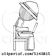 Halftone Explorer Ranger Man Using Laptop Computer While Sitting In Chair View From Side