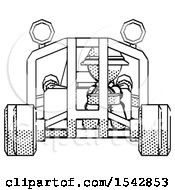 Halftone Explorer Ranger Man Riding Sports Buggy Front View