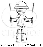 Halftone Explorer Ranger Man Posing With Two Ninja Sword Katanas Up