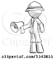 Halftone Explorer Ranger Man Holding Megaphone Bullhorn Facing Right
