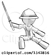 Halftone Explorer Ranger Man With Ninja Sword Katana In Defense Pose