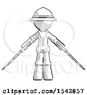 Halftone Explorer Ranger Man Posing With Two Ninja Sword Katanas
