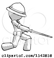 Halftone Explorer Ranger Man With Ninja Sword Katana Slicing Or Striking Something