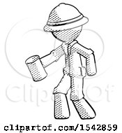 Halftone Explorer Ranger Man Begger Holding Can Begging Or Asking For Charity Facing Left