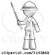 Halftone Explorer Ranger Man Standing Up With Ninja Sword Katana