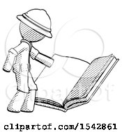 Halftone Explorer Ranger Man Reading Big Book While Standing Beside It