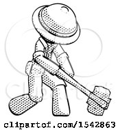 Halftone Explorer Ranger Man Hitting With Sledgehammer Or Smashing Something At Angle