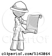 Halftone Explorer Ranger Man Holding Blueprints Or Scroll