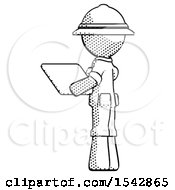 Halftone Explorer Ranger Man Looking At Tablet Device Computer With Back To Viewer