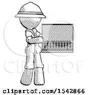Halftone Explorer Ranger Man Holding Laptop Computer Presenting Something On Screen