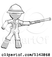 Halftone Explorer Ranger Man Bo Staff Pointing Right Kung Fu Pose