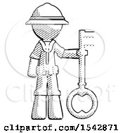 Halftone Explorer Ranger Man Holding Key Made Of Gold